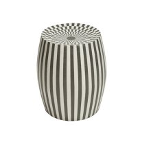 Cylinder Stool In Grey and White Resin