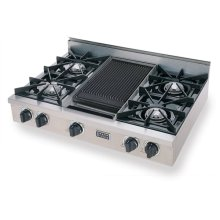 "36"" Gas Cooktop, Open Burners, Stainless Steel"