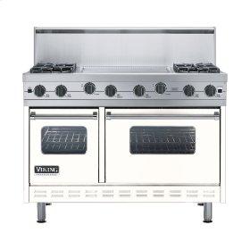 """Cotton White 48"""" Sealed Burner Range - VGIC (48"""" wide, four burners 24"""" wide griddle/simmer plate)"""