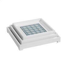 Ashley Square Nesting Trays, Blue, Gray, White