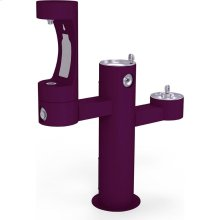 Elkay Outdoor EZH2O Bottle Filling Station Tri-Level Pedestal, Non-Filtered Non-Refrigerated Purple