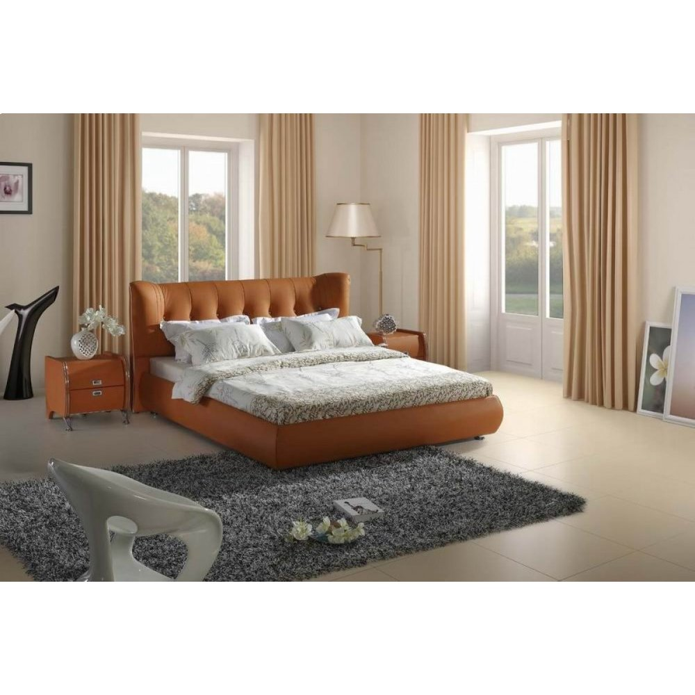 Modrest 5810 Contemporary Orange Tufted Leatherette Bed