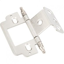 "Full Inset Partial Wrap 3/4"" Flush Hinge with Decorative Finial Tip Satin Nickel"