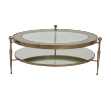 French Bronze Finished Round Cocktail Table, Inset Glass with Eglomise Accent