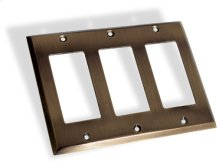 Triple GFI Square Bevel Switch Plate - Antique Brass