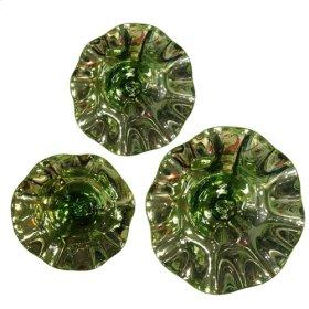 Scalloped Green Mercury Glass Bowl