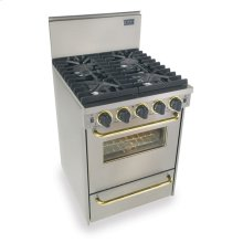 "24"" All Gas Convection Range, Sealed Burners, Stainless Steel with Brass Tr"