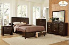 California King Platform Bed with Footboard Storages