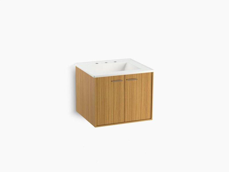 teak24 corduroy teak 24 wall hung bathroom vanity cabinet with 2 doors ahaus