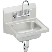 "Elkay Stainless Steel 16-3/4"" x 15-1/2"" x 13"", Single Bowl Wall Hung Handwash Sink Kit"