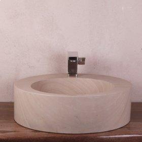 Round Sandstone Vessel w\/ faucet mount