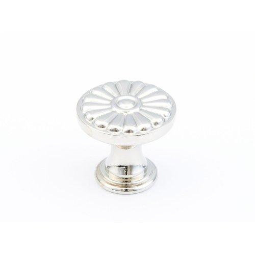 "Solid Brass, Montcalm, Round Knob, 1-3/8"" diameter, Polished Nickel finish"