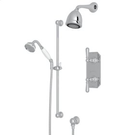 Polished Chrome Perrin & Rowe Edwardian Thermostatic Shower Package with Edwardian Metal Lever