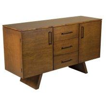 """60"""" Maple Buffet, 2 Door / 3 Drawers Black Pull Hardware 1 Adjustable Shelf Behind Each Door, Wood Foot"""