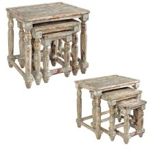 Bengal Manor Mango Wood Distressed Grey Set of Nested Tables