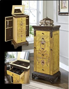 """582-314AT2  Masterpiece """"Antique Parchment"""" Hand Painted Jewelry Armoire"""