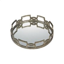 Hucknall Mirrored Tray in McComish Bronze with Iron Scrollwork (16-inch)