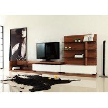 Modrest Jefferson Modern Walnut and White High Gloss TV Unit