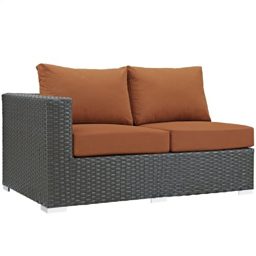 Sojourn Outdoor Patio Sunbrella® Left Arm Loveseat in Canvas Tuscan