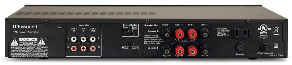 P75 Two-Channel, 75W, Dual Source Amplifier