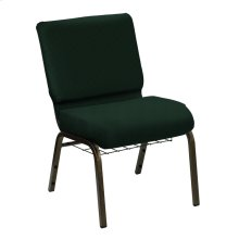 Wellington Rosemary Upholstered Church Chair with Book Basket - Gold Vein Frame