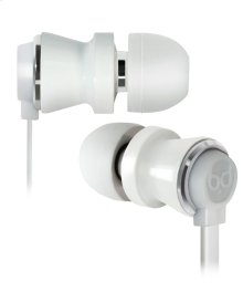 White in-ear stereo headphones with slim carry case by Bell'O Digital