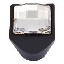 Crystal Large Square Knob 1 Inch - Matte Black