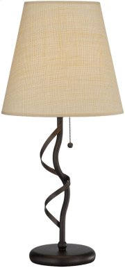 Table Lamp, ANT.GOLD Bronze/rattan Shade, E27 Cfl 23w Product Image