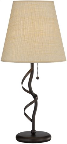 Table Lamp, ANT.GOLD Bronze/rattan Shade, E27 Cfl 23w