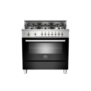 36 6-Burner, Gas Oven Black - BLACK