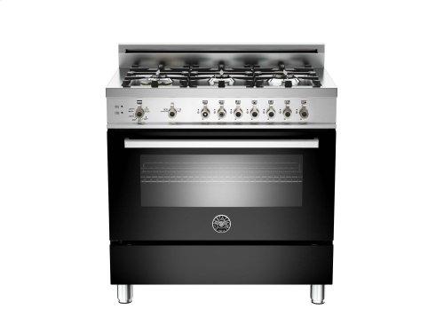 36 6-Burner, Gas Oven Black