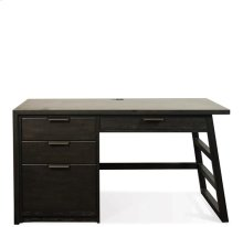 Perspectives Single Pedestal Desk Ebonized Acacia finish