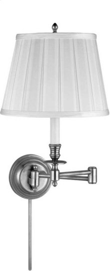 Visual Comfort S2010AN-S Studio Candle Stick 19 inch 60 watt Antique Nickel Swing-Arm Wall Light in Silk