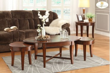 3-Piece Occasional Tables Cocktail Table: 48 x 28 x 19H Small End Table: 18 Dia x 17H