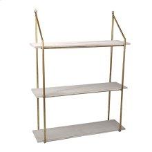 "Wood / Metal 31"" 3 Tier Wall Shelf, White"