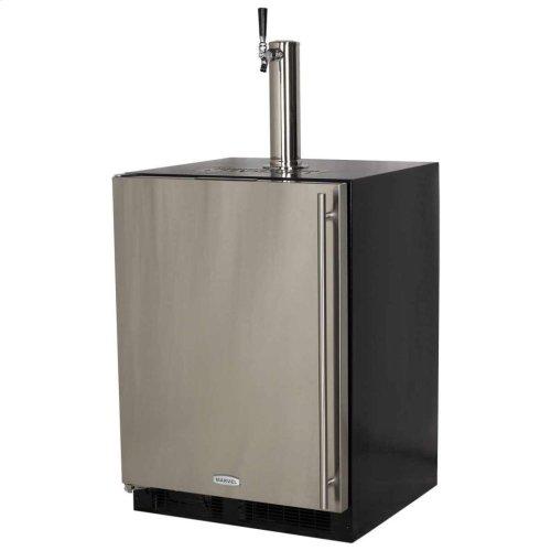 Built-In Indoor Single Tap - Marvel Refrigeration - Solid Panel Overlay Ready Door - Integrated Left Hinge