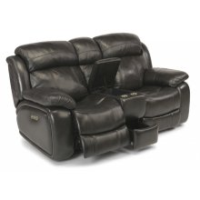 Como Leather Power Reclining Loveseat with Console and Power Headrests