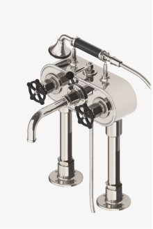 Regulator Exposed Deck Mounted Tub Filler with Handshower and Black Wheel Handles STYLE: RGXT40
