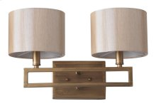 Catena Double Light Sconce - Cream Shade And Antique Gold Lamp