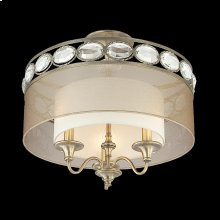 3-LIGHT SEMI FLUSHMOUNT - Antique Brass