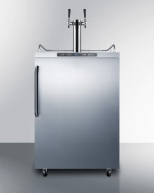 Freestanding Residential Outdoor Beer Dispenser, Auto Defrost With Digital Thermostat, Stainless Steel Wrapped Exterior, Towel Bar Handle, and Dual Tap System