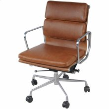Chandel PU Low Back Office Chair, Vintage Tawny