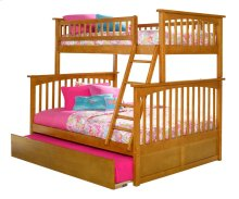 Columbia Bunk Bed Twin over Full with Urban Trundle Bed in Caramel Latte