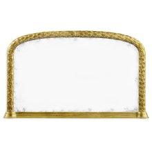 Carved and Water Gilded Gold Leaf Overmantle Mirror