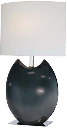 Ceramic Table Lamp, Black/off-white Fabric Shd, E27 Cfl 13w