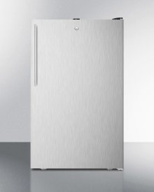 """ADA Compliant 20"""" Wide Built-in Undercounter All-freezer, -20 C Capable With A Lock, Stainless Steel Door, Thin Handle and Black Cabinet"""