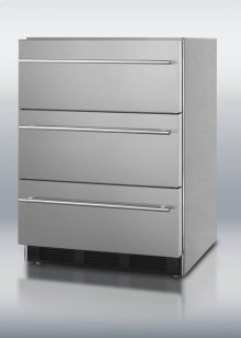 Commercially approved ADA compliant three-drawer refrigerator in stainless steel for built-in or freestanding use, with thin towel bar handles