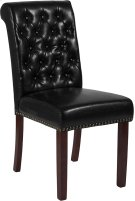 HERCULES Series Black Leather Parsons Chair with Rolled Back, Nail Head Trim and Walnut Finish Product Image