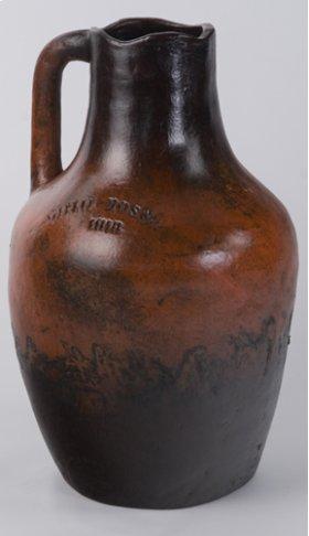 "Orange Black One Handle Vine Jar 30""H"