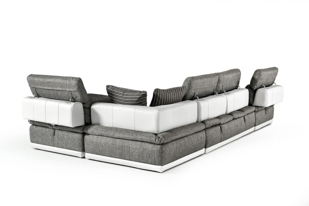 Hidden · Additional David Ferrari Panorama Italian Modern Grey Fabric U0026  White Leather Configurable Sectional Sofa